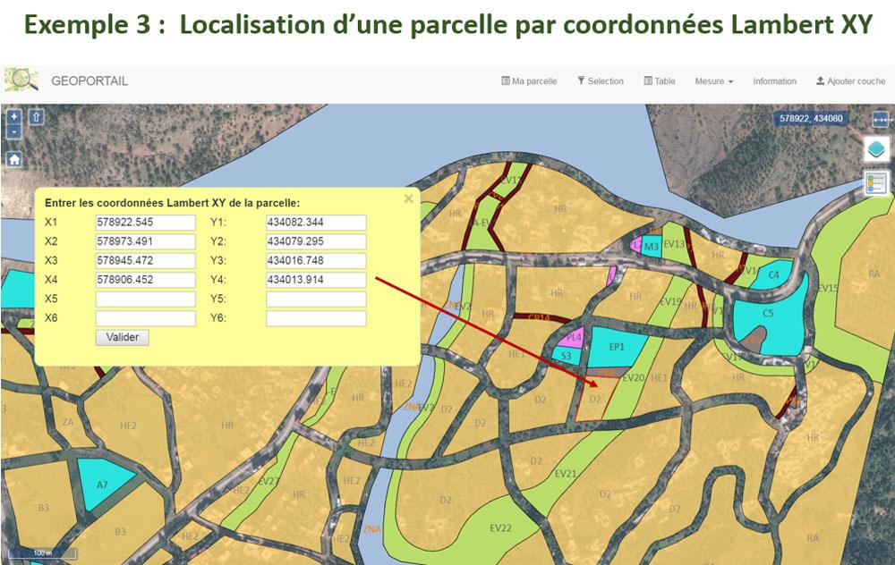 Exemple de localisation d'une parcelle