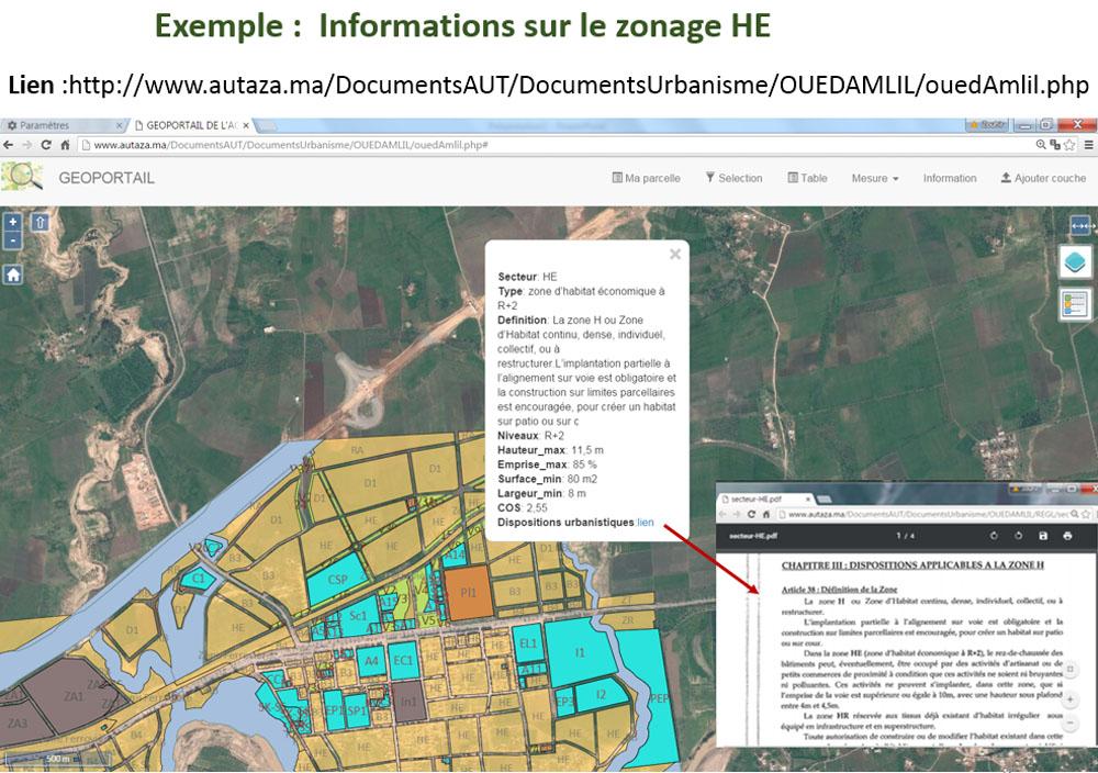 Exemple de consultation des informations urbanistiques d'un secteur